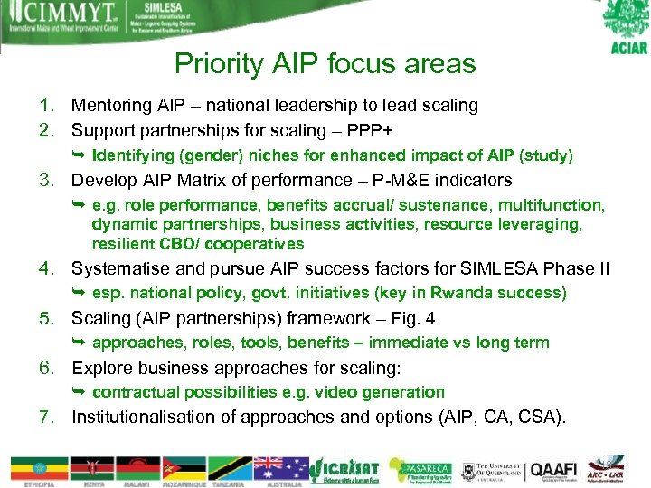 Priority AIP focus areas 1. Mentoring AIP – national leadership to lead scaling 2.