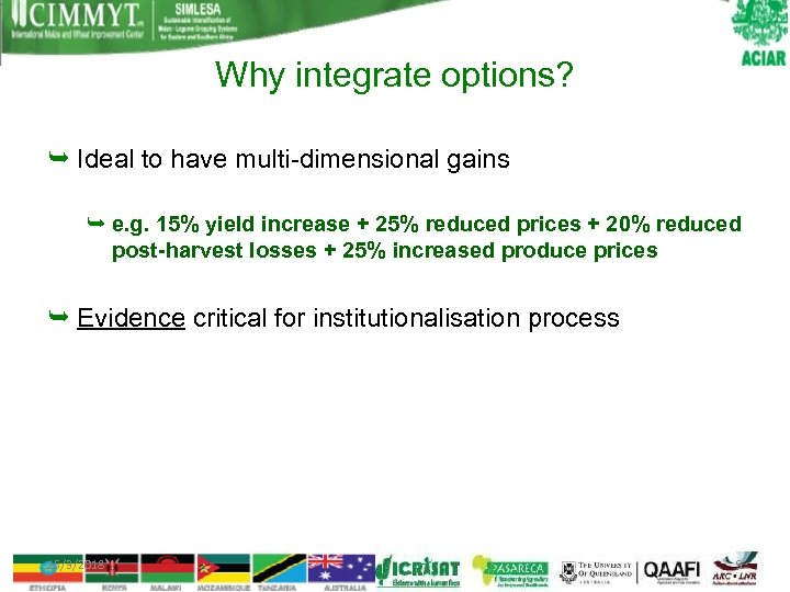 Why integrate options? Ideal to have multi-dimensional gains e. g. 15% yield increase +