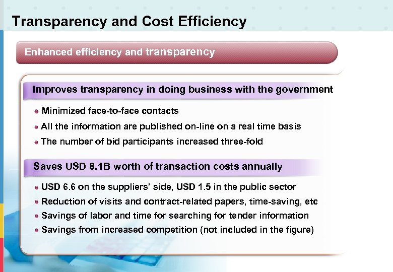 Transparency and Cost Efficiency Enhanced efficiency and transparency Improves transparency in doing business with