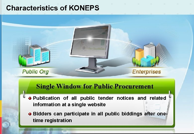 Characteristics of KONEPS Single Window for Public Procurement Publication of all public tender notices