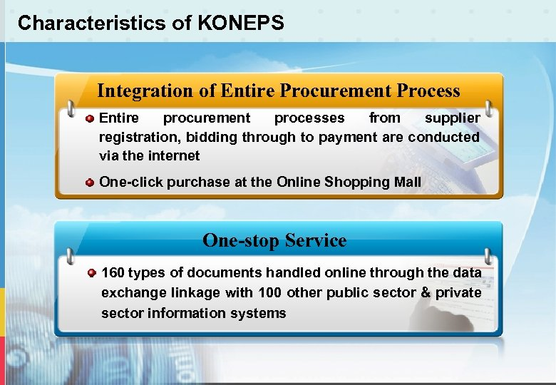 Characteristics of KONEPS Integration of Entire Procurement Process Entire procurement processes from supplier registration,