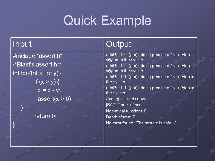 Quick Example Input Output #include