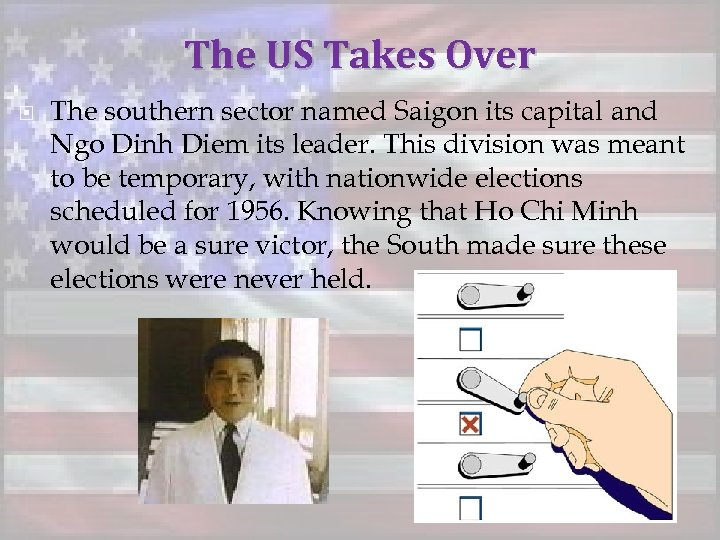 The US Takes Over The southern sector named Saigon its capital and Ngo Dinh