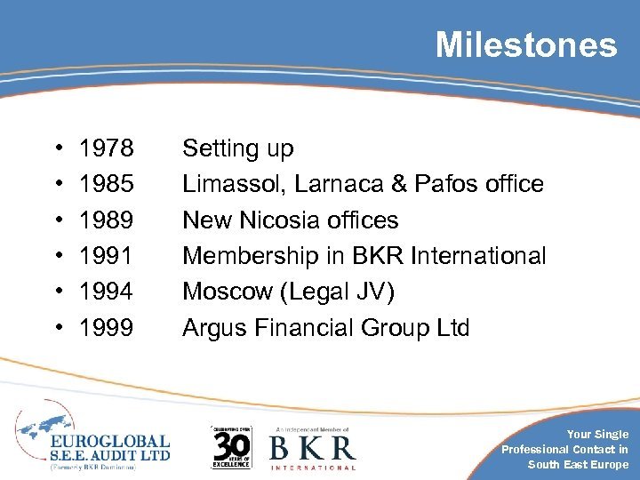 Milestones • • • 1978 1985 1989 1991 1994 1999 Setting up Limassol, Larnaca