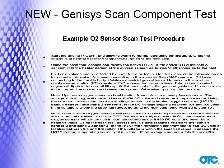 NEW - Genisys Scan Component Test Example O 2 Sensor Scan Test Procedure
