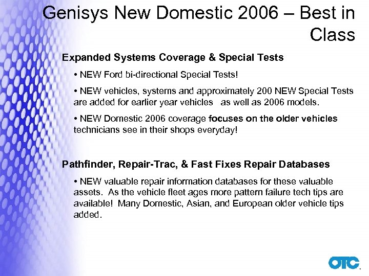 Genisys New Domestic 2006 – Best in Class Expanded Systems Coverage & Special Tests