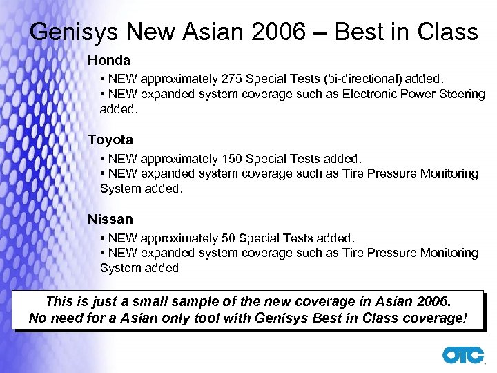 Genisys New Asian 2006 – Best in Class Honda • NEW approximately 275 Special