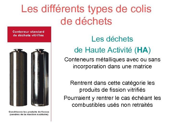 Les différents types de colis de déchets Les déchets de Haute Activité (HA) Conteneurs