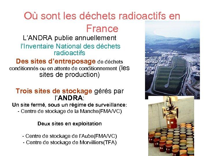 Où sont les déchets radioactifs en France L'ANDRA publie annuellement l'Inventaire National des déchets