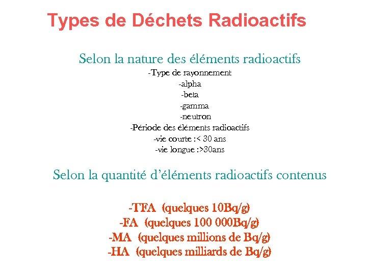 Types de Déchets Radioactifs Selon la nature des éléments radioactifs -Type de rayonnement -alpha