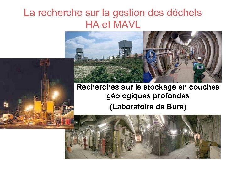 La recherche sur la gestion des déchets HA et MAVL Recherches sur le stockage
