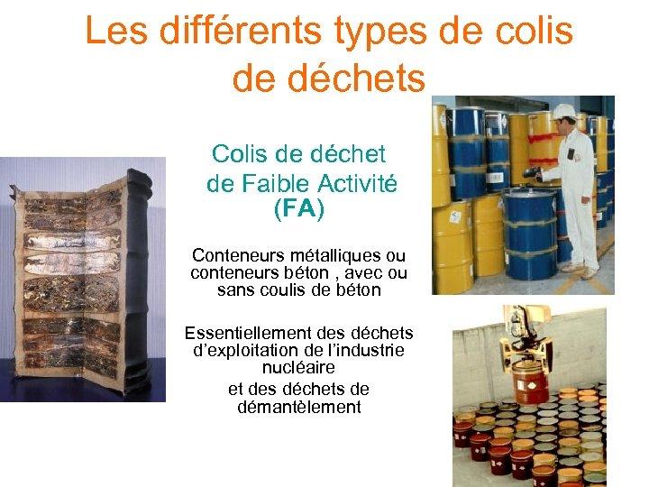Les différents types de colis de déchets Colis de déchet de Faible Activité (FA)