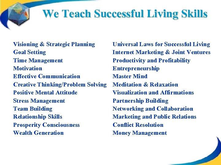 We Teach Successful Living Skills Visioning & Strategic Planning Goal Setting Time Management Motivation