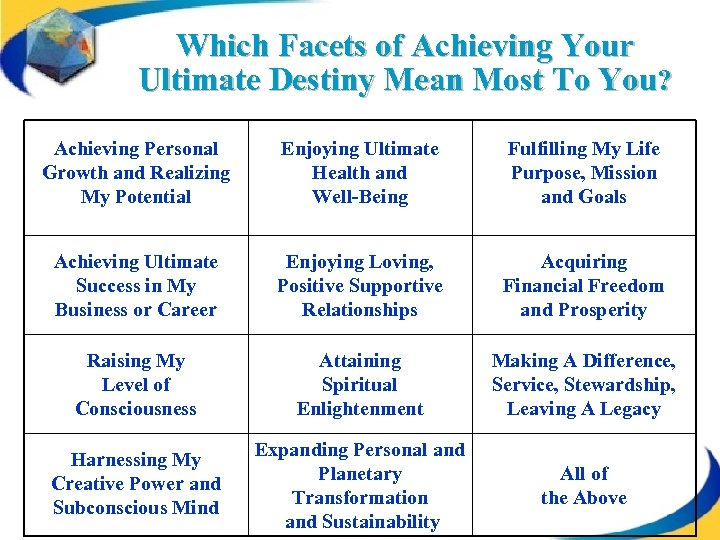 Which Facets of Achieving Your Ultimate Destiny Mean Most To You? Achieving Personal Growth