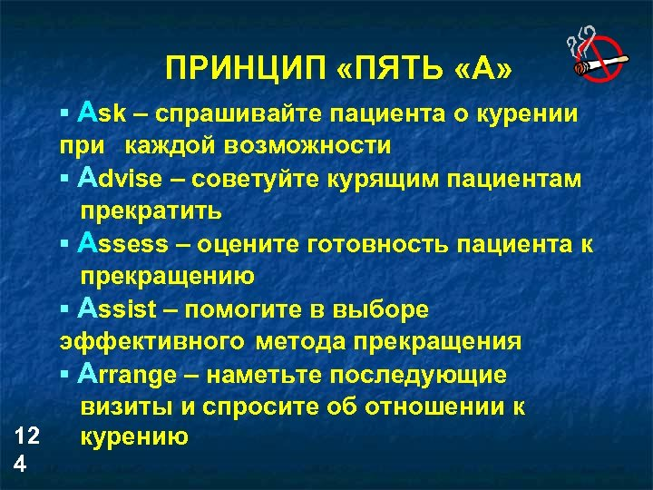 ПРИНЦИП «ПЯТЬ «А» § Ask – спрашивайте пациента о курении при каждой возможности §