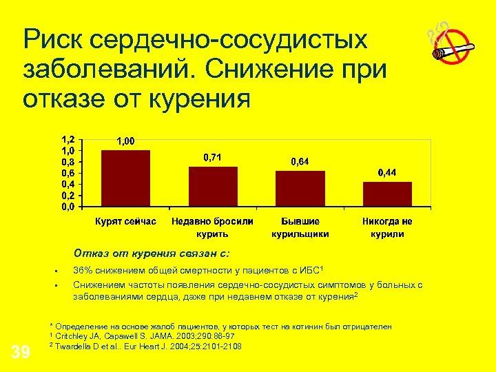Риск сердечно-сосудистых заболеваний. Снижение при отказе от курения Отказ от курения связан с: §