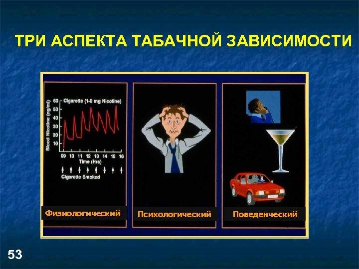 ТРИ АСПЕКТА ТАБАЧНОЙ ЗАВИСИМОСТИ Физиологический 53 Психологический Поведенческий