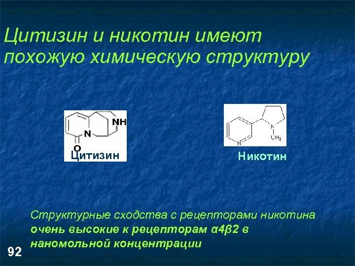 Цитизин и никотин имеют похожую химическую структуру Цитизин 92 Никотин Структурные сходства с рецепторами