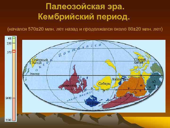 Палеозойская эра. Кембрийский период. (начался 570± 20 млн. лет назад и продолжался около 80±