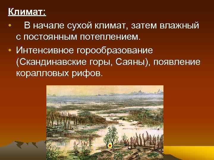 Климат: • В начале сухой климат, затем влажный с постоянным потеплением. • Интенсивное горообразование