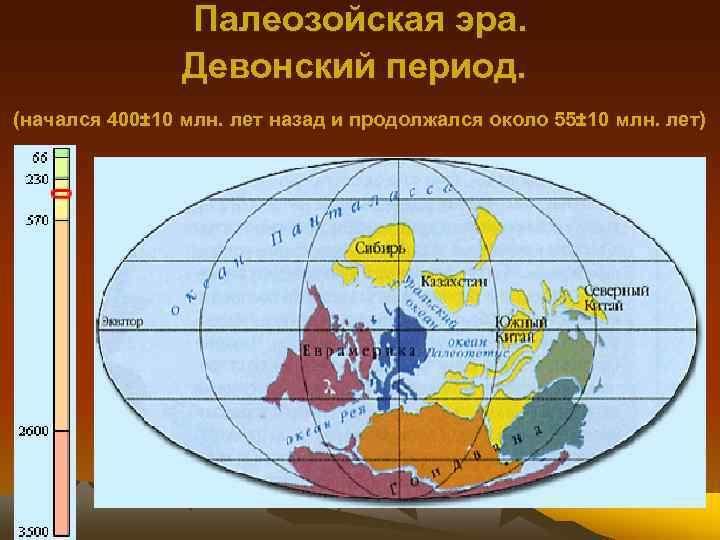 Палеозойская эра. Девонский период. (начался 400± 10 млн. лет назад и продолжался около 55±