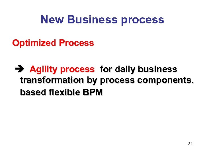 New Business process Optimized Process     Agility process for daily business transformation by