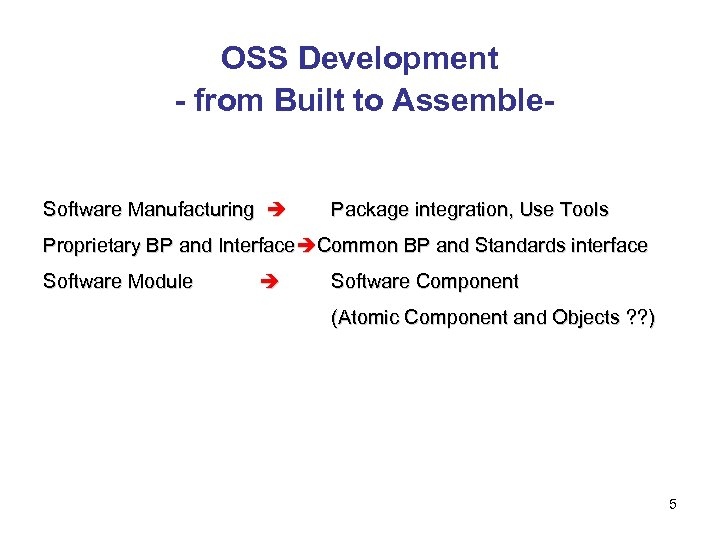 OSS Development - from Built to Assemble-  Software Manufacturing Package integration, Use Tools Proprietary