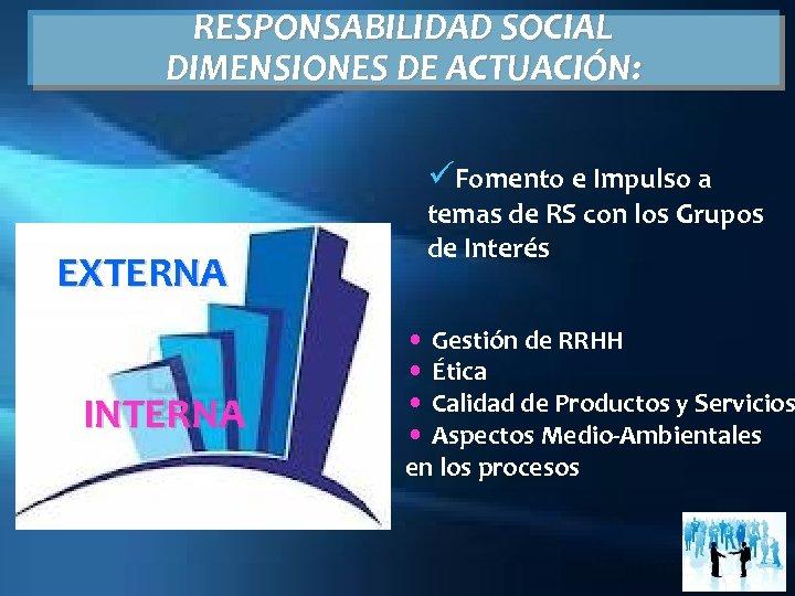 RESPONSABILIDAD SOCIAL DIMENSIONES DE ACTUACIÓN: üFomento e Impulso a EXTERNA INTERNA temas de RS