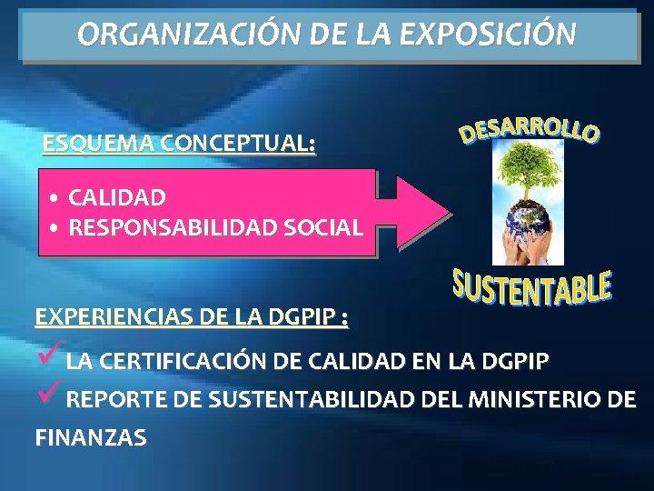 ORGANIZACIÓN DE LA EXPOSICIÓN ESQUEMA CONCEPTUAL: • CALIDAD • RESPONSABILIDAD SOCIAL EXPERIENCIAS DE LA