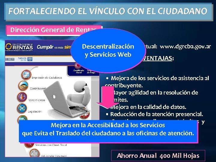 FORTALECIENDO EL VÍNCULO CON EL CIUDADANO Dirección General de Rentas Descentralización Virtual: www. dgrcba.