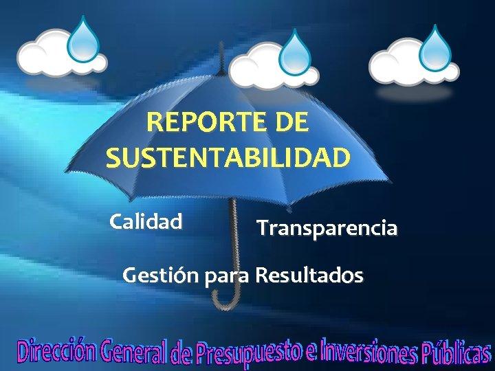 REPORTE DE SUSTENTABILIDAD Calidad Transparencia Gestión para Resultados