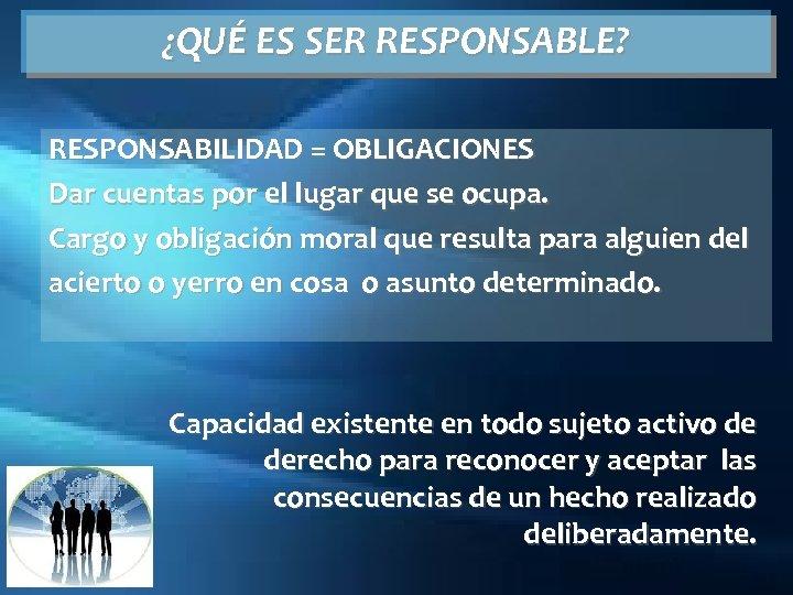 ¿QUÉ ES SER RESPONSABLE? RESPONSABILIDAD = OBLIGACIONES Dar cuentas por el lugar que se