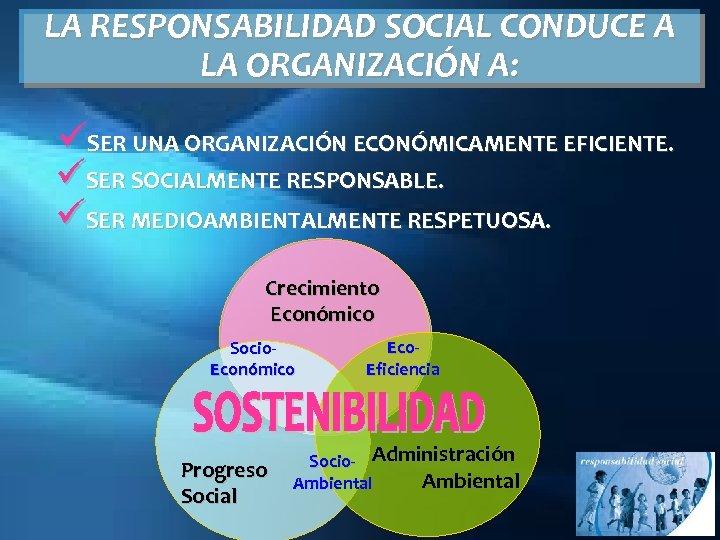 LA RESPONSABILIDAD SOCIAL CONDUCE A LA ORGANIZACIÓN A: üSER UNA ORGANIZACIÓN ECONÓMICAMENTE EFICIENTE. üSER