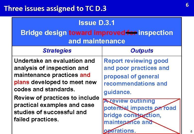 6 Three issues assigned to TC D. 3 Issue D. 3. 1 Bridge design
