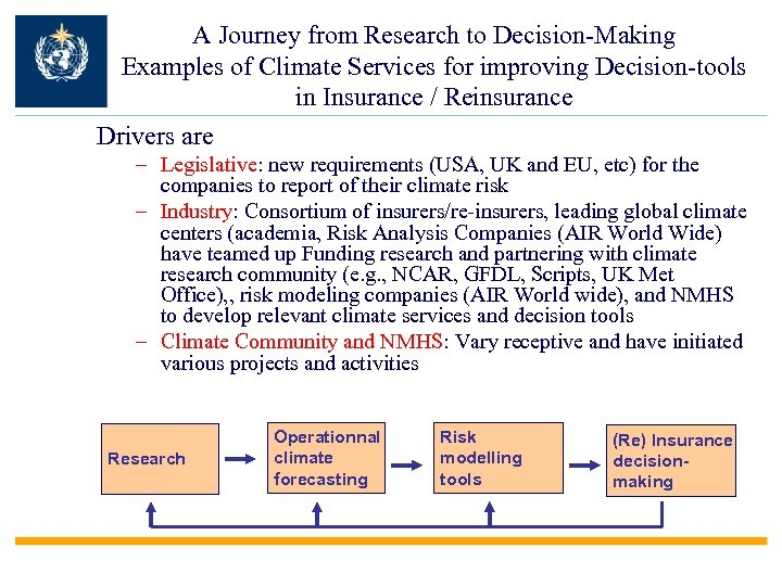 A Journey from Research to Decision-Making Examples of Climate Services for improving Decision-tools in