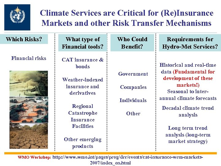 Climate Services are Critical for (Re)Insurance Markets and other Risk Transfer Mechanisms Which Risks?