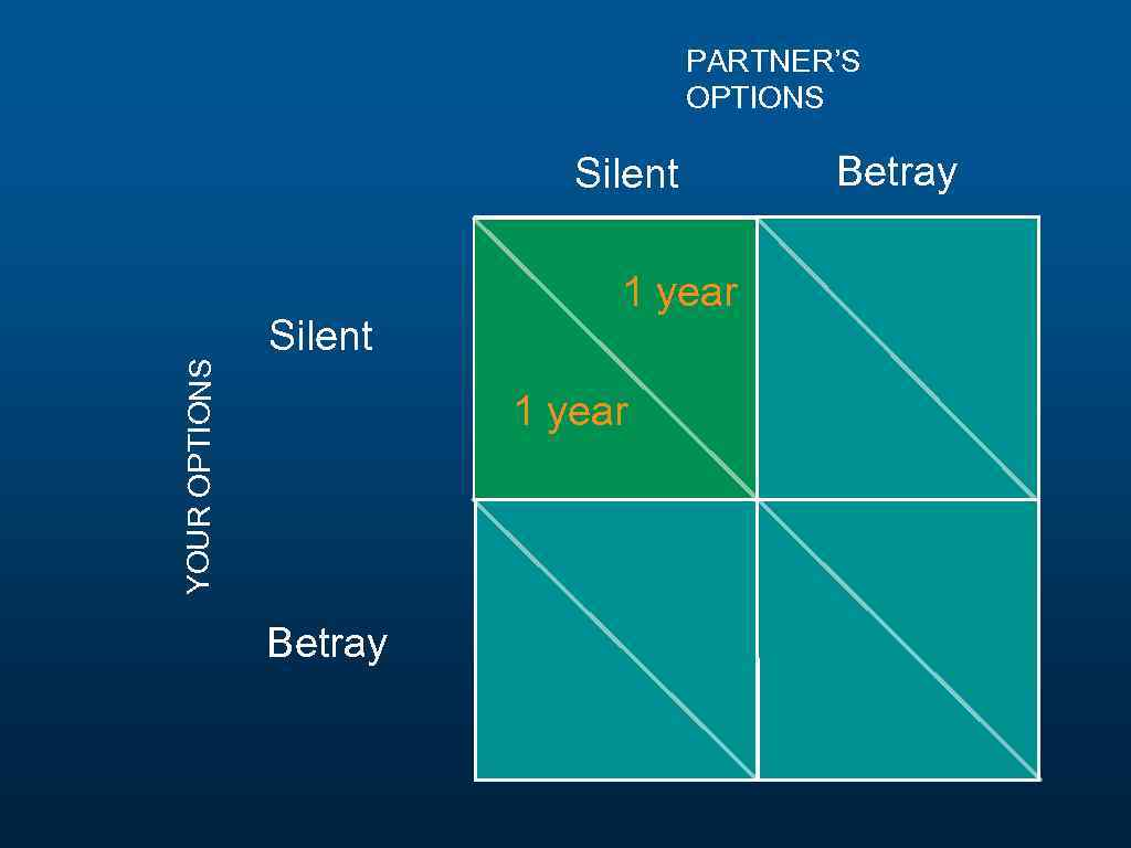 PARTNER'S OPTIONS YOUR OPTIONS Silent 1 year Betray