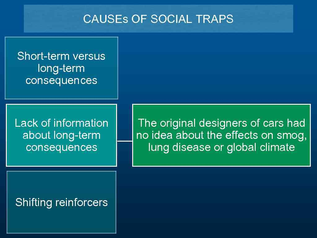 CAUSEs OF SOCIAL TRAPS Short-term versus long-term consequences Lack of information about long-term consequences