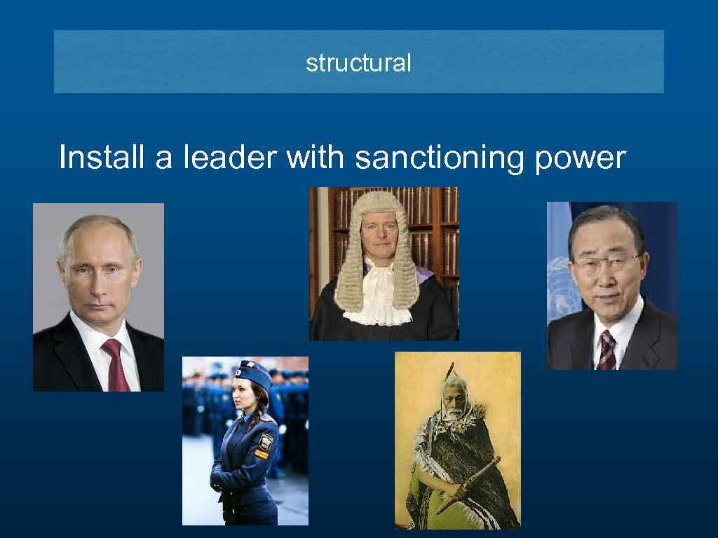 structural Install a leader with sanctioning power