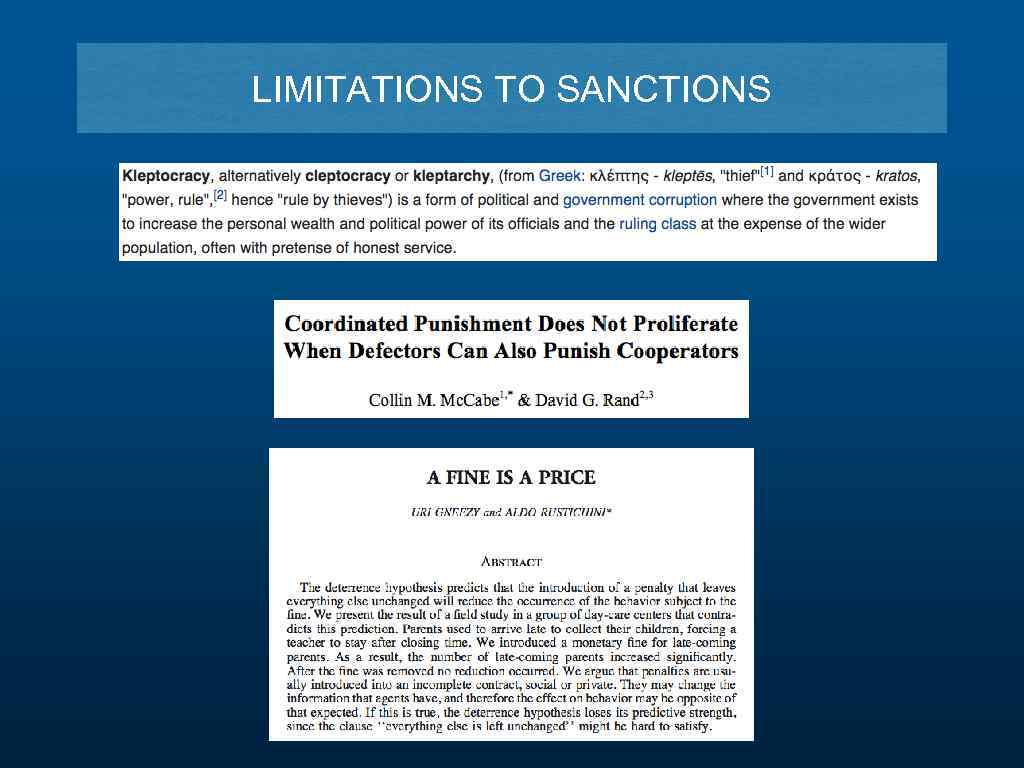 LIMITATIONS TO SANCTIONS