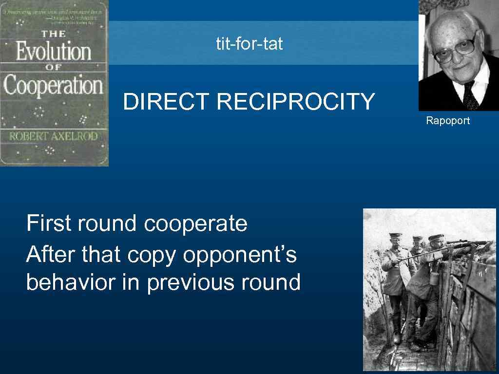 tit-for-tat DIRECT RECIPROCITY Rapoport First round cooperate After that copy opponent's behavior in previous