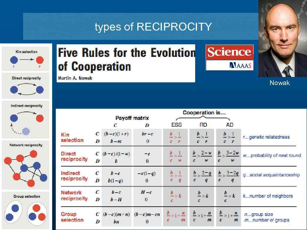types of RECIPROCITY Nowak