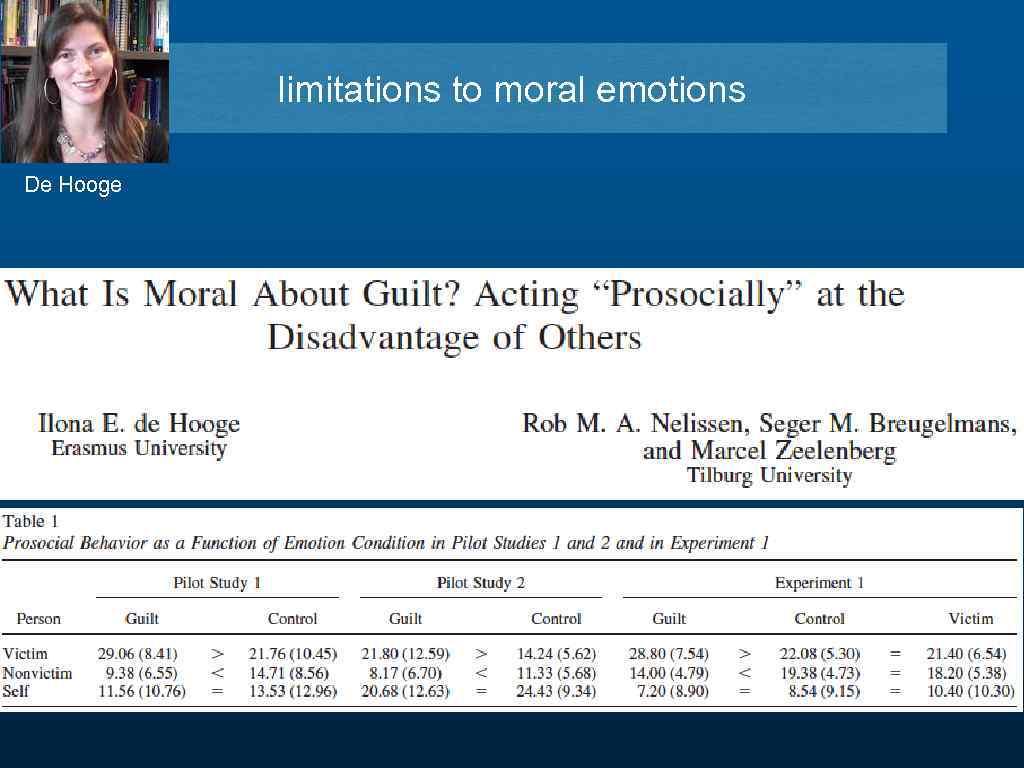 limitations to moral emotions De Hooge