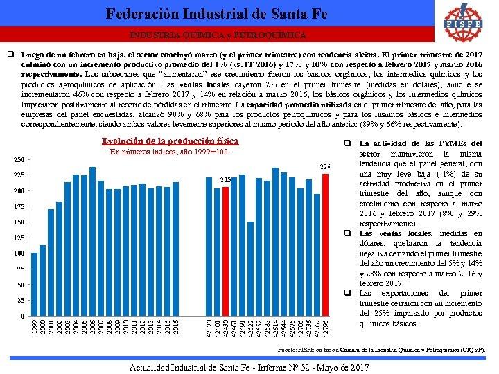 Federación Industrial de Santa Fe INDUSTRIA QUÍMICA y PETROQUÍMICA q Luego de un febrero