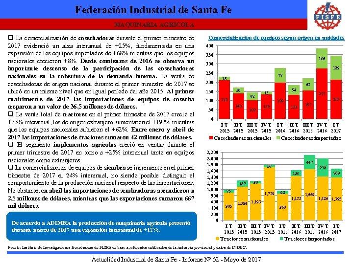 Federación Industrial de Santa Fe MAQUINARIA AGRÍCOLA q La comercialización de cosechadoras durante el