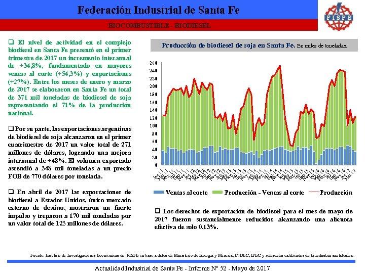 Federación Industrial de Santa Fe BIOCOMBUSTIBLE - BIODIESEL q Por su parte, las exportaciones