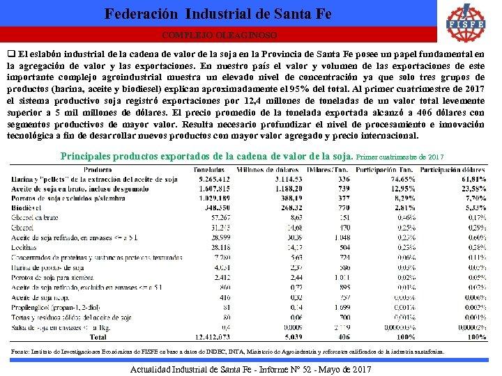Federación Industrial de Santa Fe COMPLEJO OLEAGINOSO q El eslabón industrial de la cadena