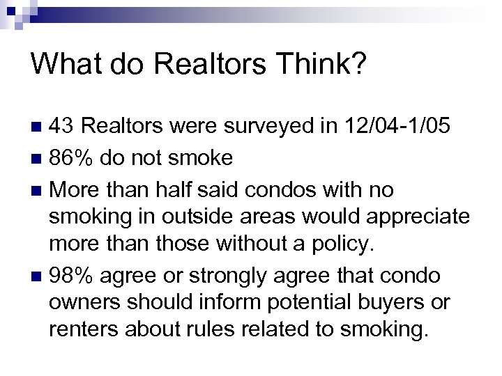 What do Realtors Think? 43 Realtors were surveyed in 12/04 -1/05 n 86% do