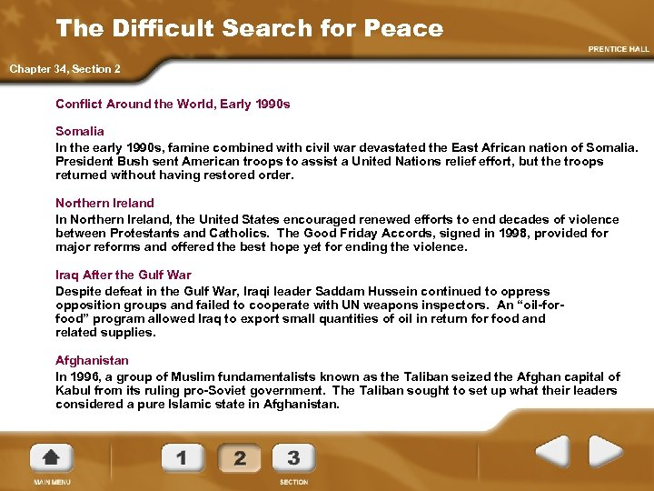The Difficult Search for Peace Chapter 34, Section 2 Conflict Around the World, Early
