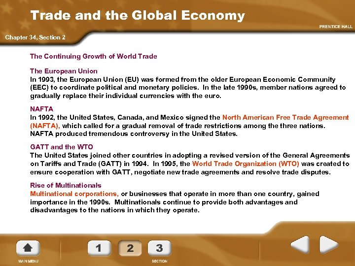 Trade and the Global Economy Chapter 34, Section 2 The Continuing Growth of World